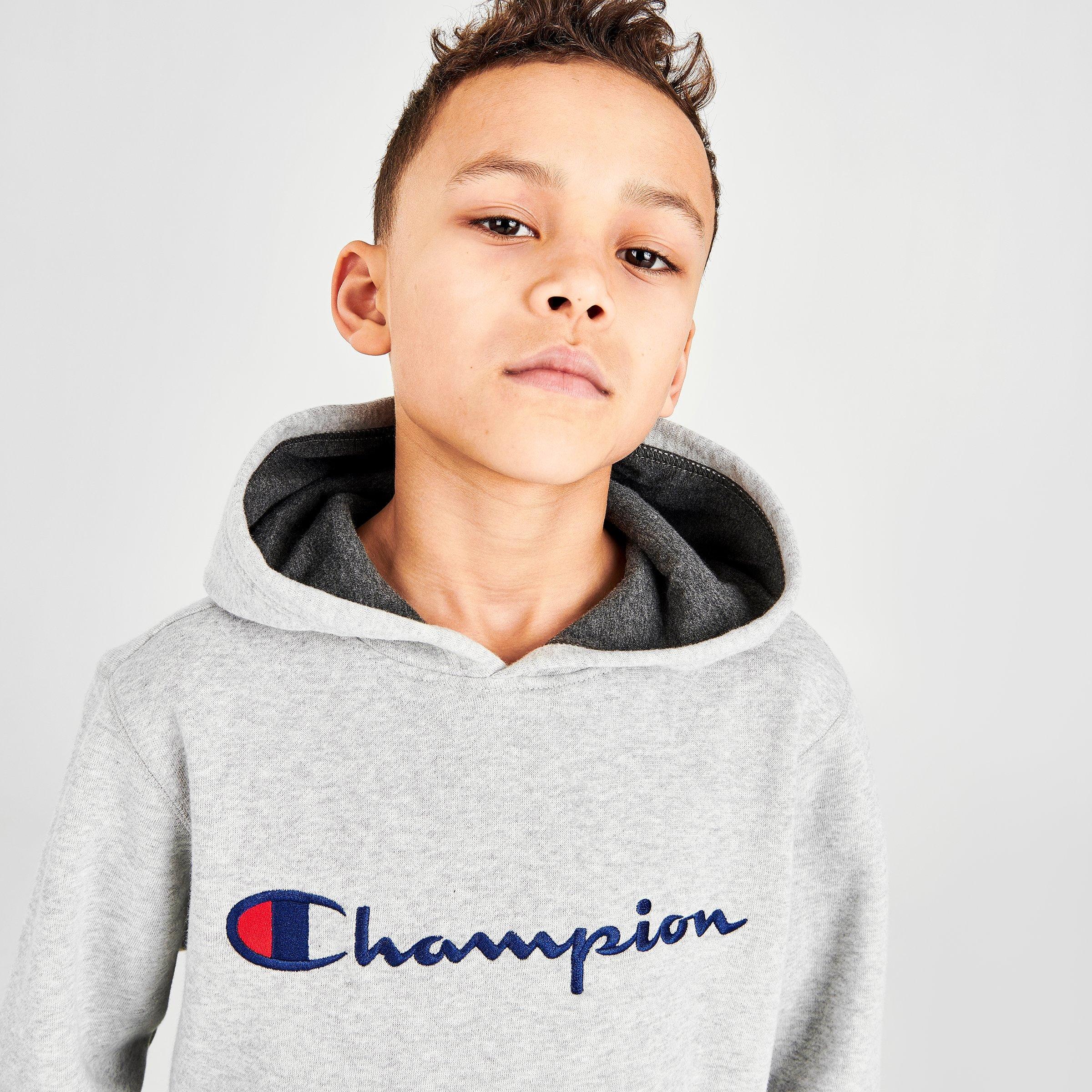6, Oxford Heather Champion Youth Heritage Fleece Pull On Sweatshirt with Hood