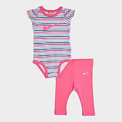 Girls' Infant Nike Swoosh Striped Bodysuit and Leggings