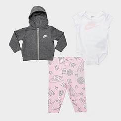 Girls' Infant Nike Mini Monogram 3-Piece Full-Zip Hoodie, Leggings and Bodysuit Set (Infants 12M-24M)