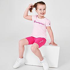 Girls' Toddler Champion Allover Print Zebra T-Shirt and Bike Shorts Set