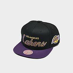 Mitchell & Ness Los Angeles Lakers NBA Flat Script Snapback Hat