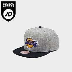 Mitchell & Los Angeles Lakers NBA Heathered Grey Hardwood Classics Pop Snapback Hat