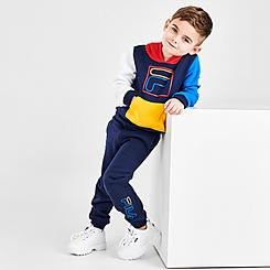 Boys' Toddler Fila Carlo Colorblock Pullover Hoodie and Jogger Pants Set