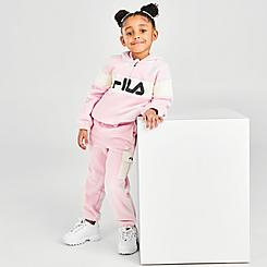 Girls' Toddler Fila Genevieve Polar Quarter-Zip Pullover Hoodie and Jogger Pants Set