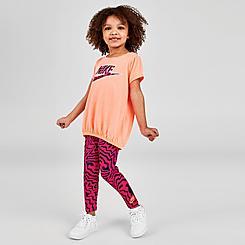 Girls' Toddler Nike Zebra Print T-Shirt and Leggings Set