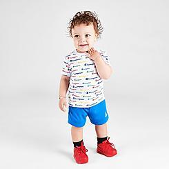 Boys' Infant Champion Allover Print Script Multi-Color Shorts and T-Shirt Set