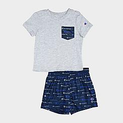 Boys' Infant Champion Multi-Color Script Logo Pocket T-Shirt and Shorts Set