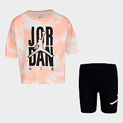 Girls' Little Kids' Jordan Tie-Dye T-Shirt and Bike Shorts Set