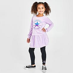 Girls' Little Kids' Converse Velour Dress and Leggings Set