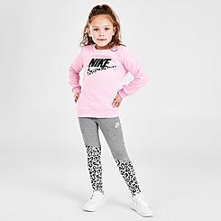 Girls' Little Kids' Nike Leopard Futura Crew Sweatshirt and Leggings Set