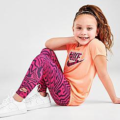 Girls' Little Kids' Nike Zebra Print T-Shirt and Leggings Set