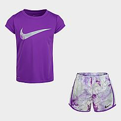 Girls' Little Kids' Nike Dri-FIT Tie-Dye T-Shirt and Shorts Set