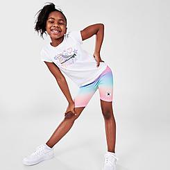 Girls' Little Kids' Converse Logo T-Shirt and Ombre Bike Shorts Set