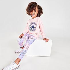 Girls' Little Kids' Converse Chuck Taylor Patch Fill Crewneck Sweatshirt and Leggings Set
