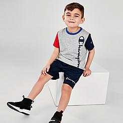 Boys' Little Kids' Champion Colorblock Vertical Script T-Shirt and Shorts Set