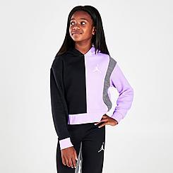Girls' Jordan Colorblock Houndstooth Boxy Pullover Hoodie