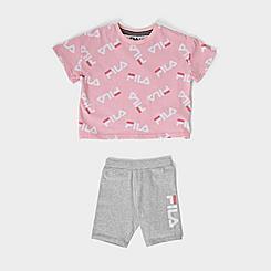 Girls' Little Kids' Fila AOP Logo T-Shirt and Bike Shorts Set
