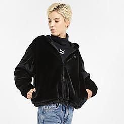 Women's Puma Classics Faux-Fur Full-Zip Hoodie