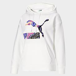 Women's Puma Marbled Logo Allover Print Hoodie