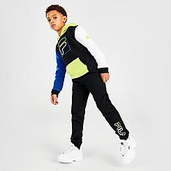 Boys' Little Kids' Fila Carlo Colorblock Pullover Hoodie and Jogger Pants Set
