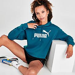 Women's Puma Elevated Essential Logo Fleece Crop Hoodie