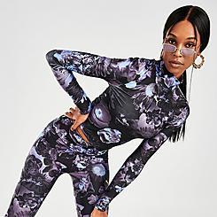 Women's Puma Evide Allover Print Mock Neck Crop Long-Sleeve Top