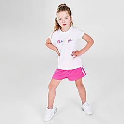 Girls' Little Kids' Champion Colorblock Script T-Shirt and Shorts Set