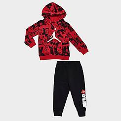 Boys' Infant Jordan Essentials Fleece AOP Hoodie and Jogger Pants Set