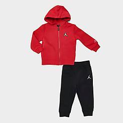 Boys' Infant Jordan Essentials Fleece Full-Zip Hoodie and Jogger Pants Set