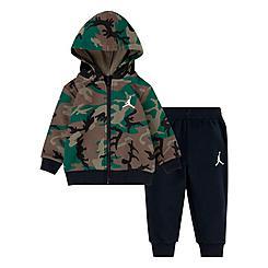 Boys' Infant Jordan Essentials Fleece Camo Full-Zip Hoodie and Jogger Pants Set