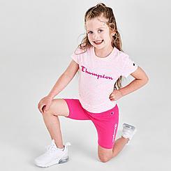 Girls' Little Kids' Champion Allover Print Zebra T-Shirt and Bike Shorts Set