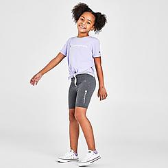 Girls' Little Kids' Champion Tie-Front Script T-Shirt and Bike Shorts Set