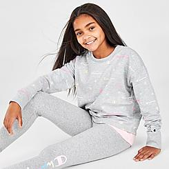 Girls' Champion AOP Multi Script Crewneck Sweatshirt