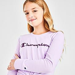 Girls' Champion Script Logo Long-Sleeve T-Shirt