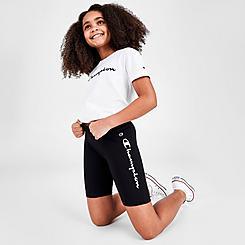 Girls' Champion Script Logo Bike Shorts