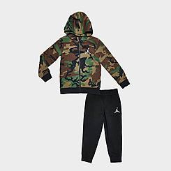 Boys' Toddler Jordan Essentials Fleece Camo Full-Zip Hoodie and Jogger Pants Set
