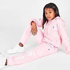 Girls' Champion Script Logo Fleece Jogger Pants