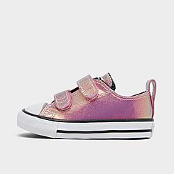 Girls' Toddler Converse Iridescent Glitter Chuck Taylor 2V Hook-and-Loop Casual Shoes