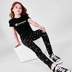 Girls' Champion All Over Logo Print Leggings