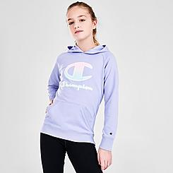 Girls' Champion Ombre Script French Terry Pullover Hoodie