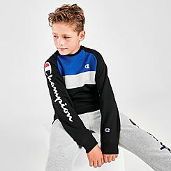 Boys' Champion Script Logo Fleece Colorblock Crew Sweatshirt