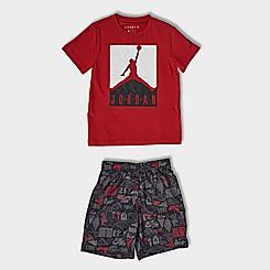 Boys' Little Kids'Jordan Boxed Logo T-Shirt and AOP Doodle Print Shorts Set