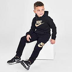 Boys' Little Kids' Nike Metallic Futura Logo Pullover Hoodie and Jogger Pants Set