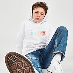 Kids' Converse Checker Drop-Shoulder Pullover Hoodie