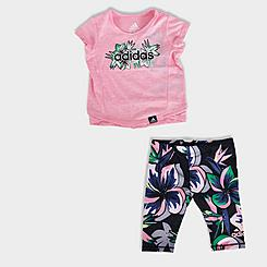 Girls' Infant adidas Floral T-Shirt and Leggings Set