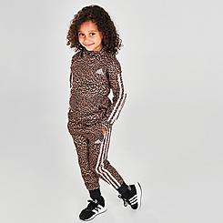 Girls' Toddler and Little Kids' adidas Leopard Print Tricot Jacket and Jogger Pants Set