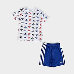 Boys' Toddler adidas AOP Badge of Sport T-Shirt and Shorts Set