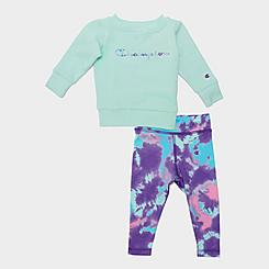 Girls' Infant Champion Tie-Dye Crewneck Sweatshirt and Leggings Set