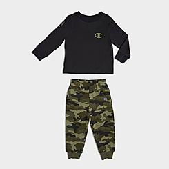 Boys' Infant Champion Camo Fleece Long-Sleeve T-Shirt and Jogger Pants Set