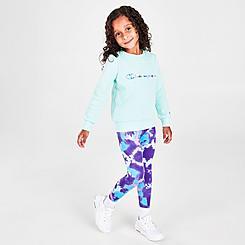 Girls' Toddler Champion Tie-Dye Crewneck Sweatshirt and Leggings Set